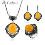 K's Gadgets Vintage <b>Jewelry</b> Set New Antique Silver Color Stone Necklace Earring Ring Set Statement Yellow Stone