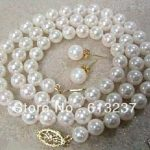 Fashion Diy 8mm White Simulated-pearl Shell Round Beads Necklace Earring Set High Grade Women <b>Jewelry</b> <b>Making</b> 18inch GE4023