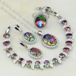 Mystic Rainbow Fire Stones White CZ <b>Jewelry</b> Sets For Women Silver Color <b>Jewelry</b> <b>Wedding</b> Earrings/Pendant/Necklace/Rings/Bracelet