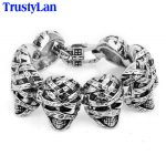 TrustyLan Band 29.5MM Wide Skeleton Skull Bracelets Punk Style Men's Bracelete Vintage Survival Bracelet <b>Jewelry</b> Mens Wristband
