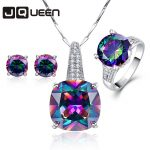 Hot Fashion 925 Sterling <b>Silver</b> Jewelry Set Topaz Rainbow Stone Chain Pendants Necklace <b>Earrings</b> Rings for Women Set