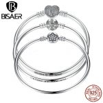 BISAER Hot Sale Romantic 925 Sterling Silver High Quality Solid Silver Heart Snake Clasp Bangle for Women DIY Wedding <b>Jewelry</b>