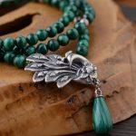 FNJ 925 <b>Silver</b> Malachite Necklace for <b>Jewelry</b> Making Peacock Pendant Green Stone 100% Original S925 <b>Sterling</b> <b>silver</b> Necklaces