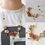 Warmhome Trendy <b>Jewelry</b> French Magical Plant Series Various Flower Gem Enamel Glaze For Women <b>Necklace</b>