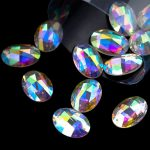 18*25mm AB Crystal Sew On Rhinestone Oval Acrylic Strass For DIY <b>Jewelry</b> Finding Crafts <b>Making</b> Accessories 1box/lot