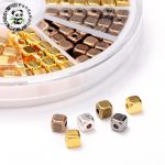 1 Box 6 Color Tibetan Silver Alloy Cube Spacer Beads, <b>Antique</b> Golden, Cadmium Free & Nickel Free & Lead Free, 4x4x4mm, Hole: 1