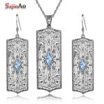 925 Sterling <b>Silver</b> Costume Jewelry Sets Nigerian Wedding Women's Blue Aquamarine Bridal Retro Long Pendant/<b>Earrings</b>