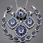 Super 925 Sterling Silver Blue Cubic Zirconia White Rhinestones <b>Jewelry</b> Sets For Women Earrings/Pendant/Necklace/Rings/Bracelets
