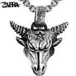 ZABRA Pure 925 <b>Sterling</b> <b>Silver</b> 46*36mm Big Vintage Bull Pendant Biker Men Necklace Punk Retro Men <b>Sterling</b> <b>Silver</b> Gothic <b>Jewelry</b>