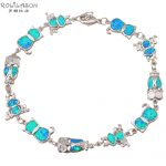 Cat Cute Wholesale & retail Blue fire Opal Stamped Silver Stamped <b>Fashion</b> <b>Jewelry</b> Bracelets nice gifts OB026
