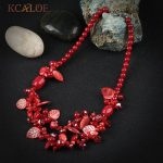 KCALOE Bohemia Female Red Coral Crystal Necklace Fashion <b>Jewelry</b> <b>Handmade</b> Rope Natural Stone Statement Choker Necklaces Women