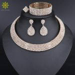 Hot Selling Bride Classic Rhinestone Crystal Choker Necklace Earrings Ring and Bracelet Wedding <b>Jewelry</b> Sets Wedding <b>Accessories</b>
