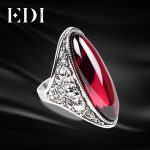 EDI Women Retro 925 Sterling Thai <b>Silver</b> Adjustable Garnet Rings Statement Exaggerated Ring For Women Female In <b>Jewelry</b> Party