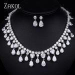 ZAKOL Luxury Teardrop Cubic Zirconia Cluster <b>Jewelry</b> Set For Women Party <b>Jewelry</b> With Sliver Color FSSP159
