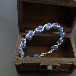 Lii Ji Customized Blue Kyanite 6-7mm Beads Handmade knitting 925 sterling <b>silver</b> Clasp <b>Bracelet</b>