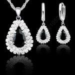 Jemmin Fashion Water Drop Crystal Pendant Necklace Earrings Set <b>Sterling</b> <b>Silver</b> Bridal Wedding <b>Jewelry</b> Sets For Women Accessory