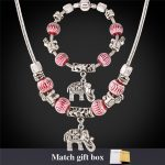 Charms Necklace And <b>Bracelet</b> Set Tibetan <b>Silver</b> Color Crystal Glass Bead Snake Chain European DIY Jewelry Set For Women NH863