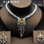 HIBRIDE High Quality Big Flower Shape Women Bridal <b>Jewelry</b> Set Yellow Rhinestone Necklace Set For Female Gifts N-279