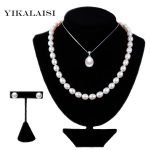 YIKALAISI 2017 925 sterling <b>silver</b> jewelry Pearl Jewelry Sets Water Drop Natural Freshwater Pearls Send Chain pearl For Women