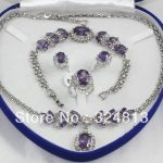 Prett Lovely Women's Wedding Lovely Sets Purple gem pendant necklace bracelet silver Stud earring Ring #2222 silver-<b>jewelry</b>