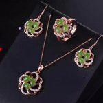 LANZYO 925 sterling <b>silver</b> natuarl green Jasper Jewelry Sets Fine Jewelry Ring Necklace Pendant <b>Earring</b> Women Bridal tz0406agby