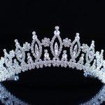 Exquisite Flower Crowns Floral Tiaras Silver Plated Clear Crystal Rhinestones Wedding Bridal Headband Hair <b>Jewelry</b>