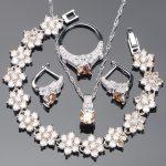 Zirconia Bridal Jewelry Sets 925 Sterling <b>Silver</b> Jewelry Stone Earrings For Women <b>Bracelet</b> Pendant Ring Necklace Set Gift Box