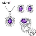 Almei Diana William Engagement Wedding Amethyst Jewelry Set <b>Silver</b> 925 Ring Pendant Stud <b>Earring</b> 45cm Chain with A Box 10% CT001