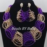 Purple Gold African Wedding Beads <b>Jewelry</b> Set <b>Handmade</b> Nigerian Beads Necklace Bridal <b>Jewelry</b> Sets Crystal Free Shipping ABF162