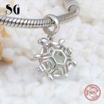 Silver 925 Original Charms Animal tortoise glowing Beads Fit Authentic pandora Bracelet European diy <b>Jewelry</b> <b>making</b> Women Gifts