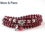 Natural Garnet <b>Bracelets</b> Wine Red Bead with Fox Pendant 925 Sterling <b>Silver</b> <b>Bracelet</b> for Women Girl Crystal Multiplayer Jewelry