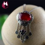 Natural Red Jade Tassel Pendant 100% Real 925 Sterling <b>Silver</b> <b>Necklaces</b> Women Trendy Handmade Vintage Coin Fine Jewelry SP01