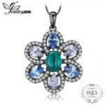 JewelryPalace Luxury 4.6ct Nano Russian Simulated Emerald Created Light Blue Spinel Pendan plated 925 Sterling <b>Silver</b> 18 Inches