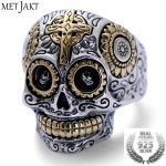 MetJakt Real 925 <b>Sterling</b> <b>Silver</b> Skull Ring and Gold Cross for Vintage Punk Rock Locomotive Ring for Men Halloween <b>Jewelry</b>