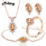 MoBuy Natural Gemstone 100% 925 Sterling <b>Silver</b> 4pcs Marquise Citrine Romantic Fine Jewelry Sets For Women Party V005EHNR
