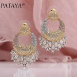 PATAYA New Three-color Plating 585 Rose Gold Square Natural Zircon Long Stud Earrings Women <b>Wedding</b> Party Luxury Noble <b>Jewelry</b>