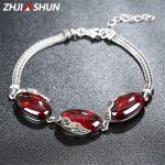 New Arrival 18-21cm 925 Sterling <b>Silver</b> Charm <b>Bracelets</b> Vintage Chalcedony/Garnet <b>Bracelet</b> for Women Female Fine Jewelry