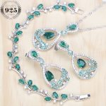 Green Cubic Zirconia Silver 925 Bridal <b>Jewelry</b> Sets Women Costume <b>Jewelry</b> Rhinestone Earrings Bracelets <b>Necklace</b> Set Gift Box