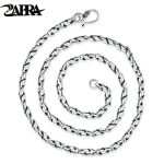 ZABRA 925 <b>Sterling</b> <b>Silver</b> Thread Necklace For Men 4mm 55cm High Polished Link Chains Necklaces Vintage Retro <b>Jewelry</b> For Male