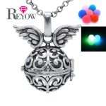BUY 2+ GET 1 FREE!Glow in the Dark <b>Antique</b> Silver Flower Wing Hollow Locket Necklace Aromatherapy Essential Oil Diffuser <b>Jewelry</b>