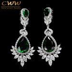 CWWZircons Romantic <b>Wedding</b> Souvenir <b>Jewelry</b> Long Drop CZ Crystal Green Bridal <b>Wedding</b> Chandelier Earring For Bride CZ112