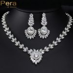 Pera Luxury Nigerian Design Full Leaf Cubic Zircon Stone Connected Bridal Wedding Party Big <b>Necklace</b> <b>Jewelry</b> Set For Bride J158