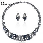 Viennois Vintage <b>Silver</b> Color Twisted Metallic Jewelry Sets Women Choker Necklace Stud <b>Earrings</b> Set Retro Style Trendy Jewelry