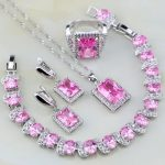 Square Shaped Lovely Pink Zircon White CZ 925 Sterling <b>Silver</b> Jewelry Sets For Women Earring/Pendant/Necklace/<b>Bracelet</b>/Ring