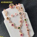 KJJEAXCMY Fine jewelry 925 <b>silver</b> inlaid natural multicolor tourmaline women's jewelry set flawless