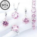 <b>Silver</b> 925 Costume Wedding Pink Zirconia Jewelry Sets Charms <b>Bracelets</b> Necklace Pendant Earrings Rings For Women Set Gift Box