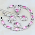 Hot Pink Cubic Zirconia White CZ 925 Sterling <b>Silver</b> Jewelry Sets For Women Engagement Earring/Pendant/Necklace/<b>Bracelet</b>/Ring