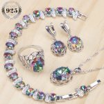 925 Sterling <b>Silver</b> Women Bridal Jewelry Sets Magic Rainbow Zirconia Earrings <b>Bracelet</b> Pendant Ring Necklace Set Gift Box