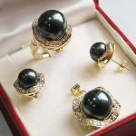 Women's Wedding Gorgeous Black Shell Pearl Necklace Earrings Ring Sets+ Chain>AAA GP Bridal wi brinco real silver mujer