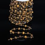 Fashion Yellow Tiger Eye 8mm Smooth Round Bead Chain,Brass Wire Wrapped Natural stone Rosary Chain DIY <b>Necklace</b> bracelet <b>Jewelry</b>